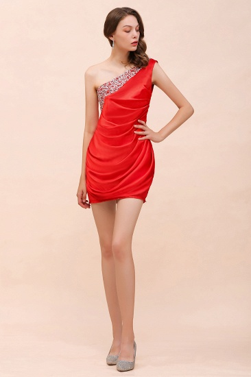 BMbridal Chic One Shoulder Beading Ruffle Red Bridesmaid Dress with Detachable Skirt_7