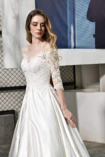 Elegant A-Line Satin Lace 3/4 Sleeves Ankle Length Wedding Dress_9