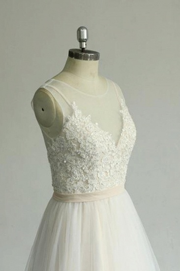 BMbridal Chic Straps Sleeveless Appliques Wedding Dress A-line Tulle White Bridal Gowns On Sale_6