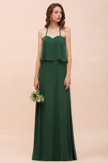 Chic Halter Sweetheart Dark Green Chiffon Bridesmaid Dress_4