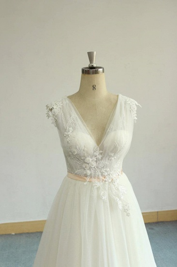 BMbridal Gorgeous V-neck Sleeveless A-line Wedding Dresses Champgne Tulle Bridal Gowns With Appliques On Sale_6