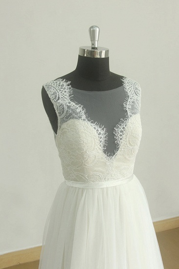 BMbridal Affordable Jewel Sleeveless Tulle Wedding Dress Appliques Ruffles White Bridal Gowns On Sale_3
