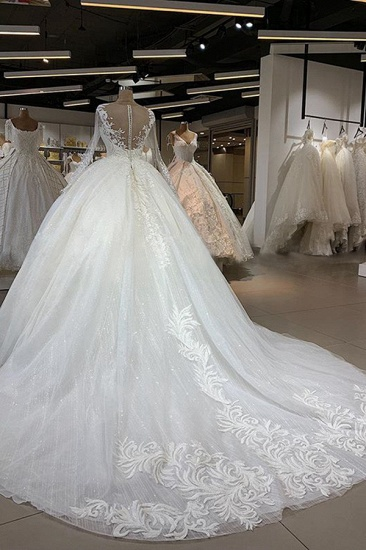 Gorgeous Jewel Longsleeves Lace Wedding Dresses A-line Tulle Ruffles Bridal Gowns With Appliques Online_4