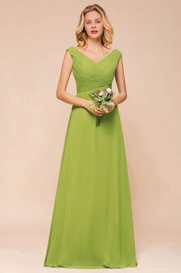 Affordable V Neck Sleeveless Green Chiffon Bridesmaid Dress