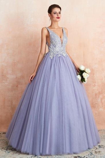 Gorgeous Lavender Lace Prom Dress V-Neck Ball Gown Tulle Formal Wears_5