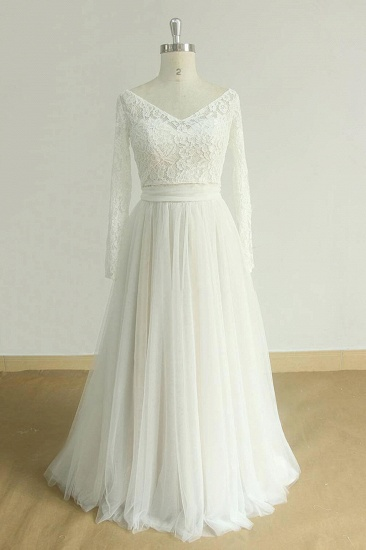 BMbridal Chic Sweetheart Lace Wedding Dress White Tulle Ruffles Bridal Gowns On Sale_4