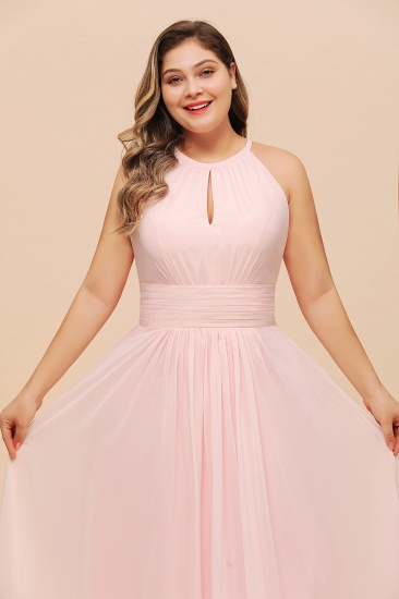 BMbridal Affordable Plus Size Chiffon Round Neck Pink Bridesmaid Dress_8