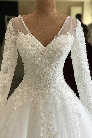 BMbridal Modest V-neck Longsleeves White Wedding Dresses With Appliques A-line Tulle Ruffles Bridal Gowns On Sale_4