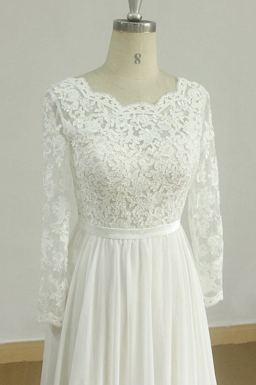 Glamorous A-line White Chiffon Wedding Dress Longsleeves Jewel Bridal Gowns On Sale_4
