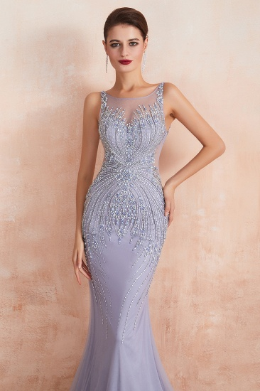 Luxurious Lilac Crystal Prom Dress Mermaid Long Evening Gowns_4