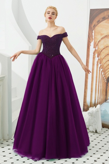 BMbridal Princess Off-the-Shoulder Prom Dress Beadings Sweetheart Ball Gown Evening Gowns_1