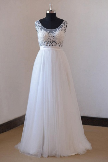 BMbridal Gorgeous Jewel Appliques Sleeveless Wedding Dress Tulle Ruffles White Bridal Gowns On Sale_1