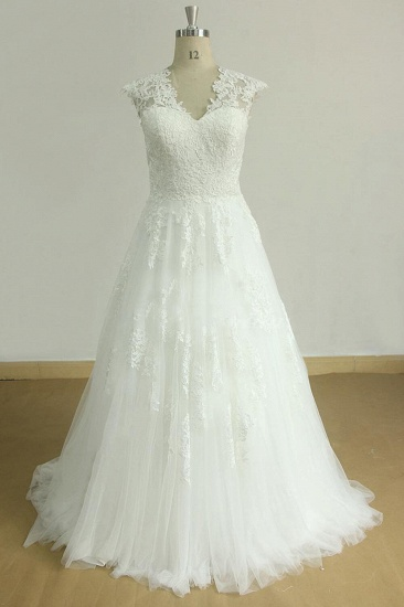 Glamorous Sleeveless Appliques Tulle Wedding Dresses A-line Lace Straps Bridal Gowns On Sale_1