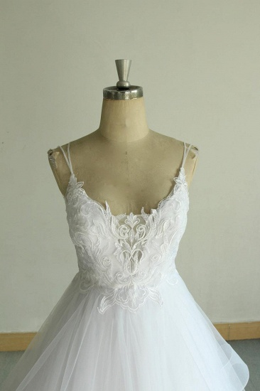 BMbridal Sexy Spaghetti Straps Tulle White Wedding Dress Sleeveless A-line Bridal Gowns On Sale_4
