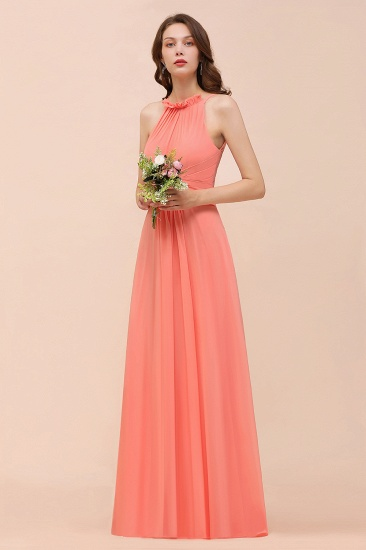 BMbridal Modest Halter Ruffle Coral Chiffon Affordable Bridesmaid Dress Online_6