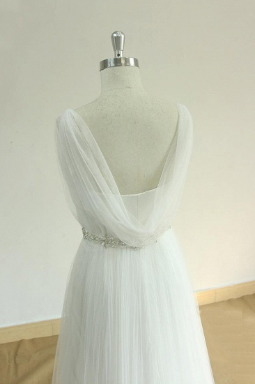 Elegant Straps Tulle White Wedding Dress A-line Ruffles Sleeveless Bridal Gowns On Sale_5