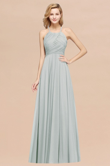BMbridal Halter Crisscross Pleated Bridesmaid Dress Blue Chiffon Sleeveless Maid of Honor Dress_38