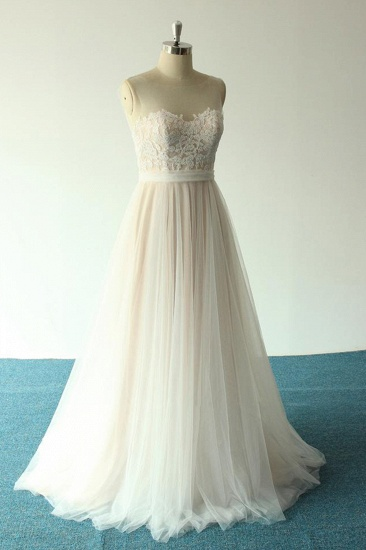BMbridal Affordable Jewel Sleeveless A-line Wedding Dresses Tulle Lace Bridal Gowns Online_4