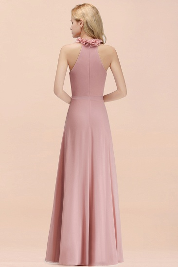 Modest High-Neck Halter Ruffle Chiffon Bridesmaid Dresses Affordable_52