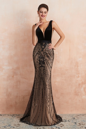 BMbridal Sexy Black Lace Mermaid Prom Dress Long Sleeveless Evening Party Gowns Online_4
