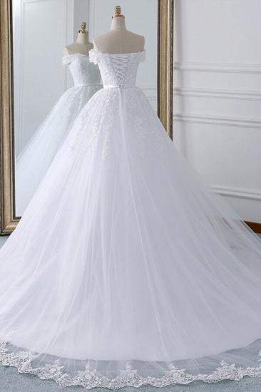 Unique Off the Shoulder Appliques Lace Wedding Dress Ball Gown White A-line Bridal Gowns On Sale_4