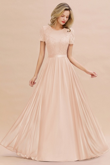 Elegant Chiffon Lace Jewel Short-Sleeves Affordable Bridesmaid Dress_5