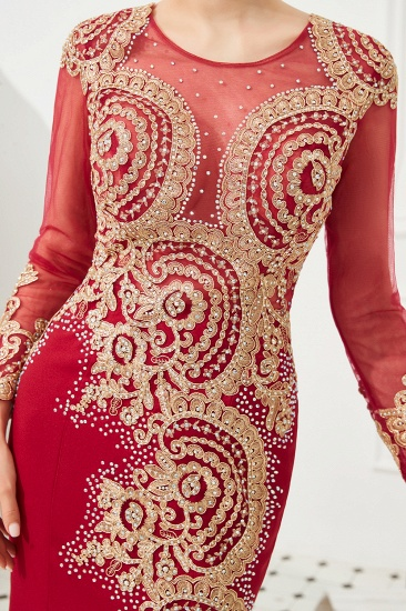 Burgundy Long Sleeve Mermaid Prom Dress With Gold Appliques Online_14