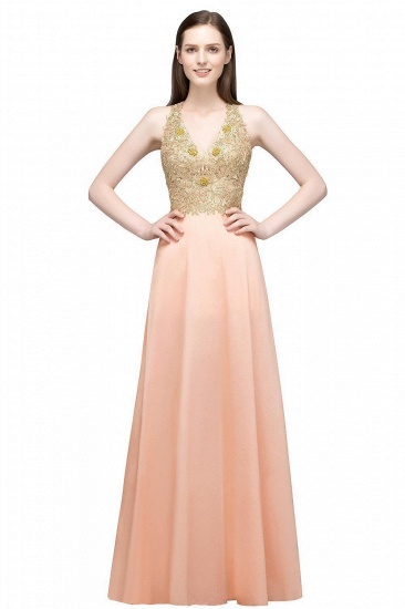 BMbridal A-line Floor Length Spaghetti V-neck Appliqued Chiffon Bridesmaid Dress Online_1