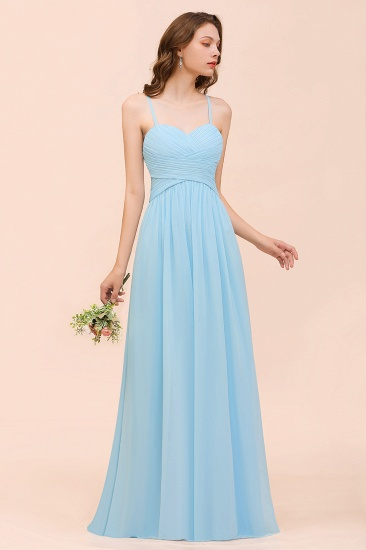 Chic Spaghetti Straps Ruffle Sky Blue Chiffon Bridesmaid Dress Online_5