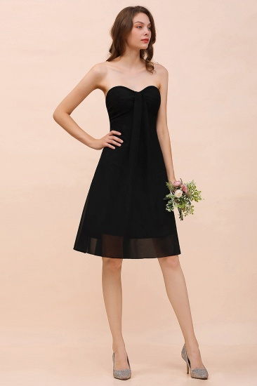 Lovely Strapless Sweetheart Ruffle Short Black Bridesmaid Dress Affordable_6