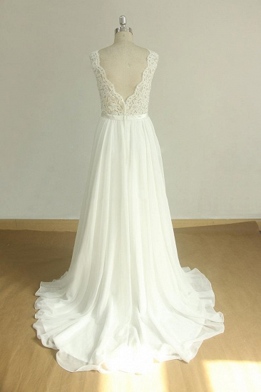 Elegant V-neck Sleeveless Lace Wedding Dresses White A-line Chiffon Bridal Gown On Sale_3