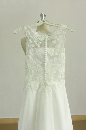BMbridal Glamorous Jewel Sleeveless Appliques Wedding Dress Lace White Chiffon Bridal Gowns On Sale_3