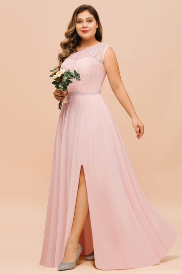 Chic One-Shoulder Pink Lace Bridesmaid Dresses with Slit_6