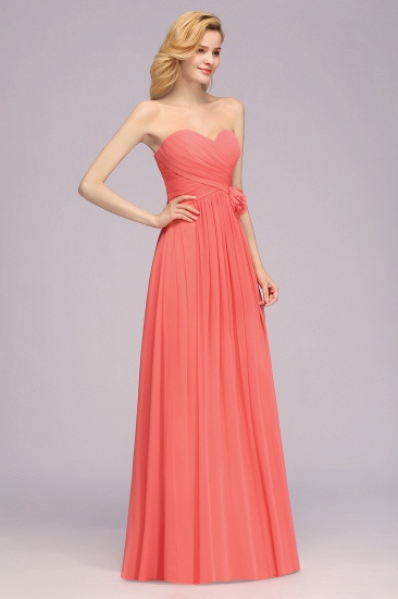 Affordable Sweetheart Strapless Chiffon Bridesmaid Dress with Flower_6