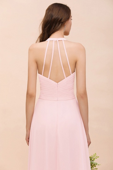 Chic V-Neck Blushing Pink Chiffon Affordable Bridesmaid Dress with Ruffle_9