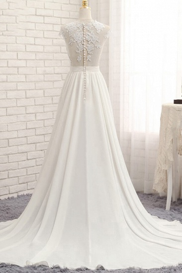 Elegant Chiffon Sleeveless Appliques Wedding Dress A-line Jewel White Bridal Gowns On Sale_3