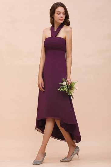 Stylish Hi-Lo Halter Grape Chiffon Affordable Bridesmaid Dresses with Ruffle_8