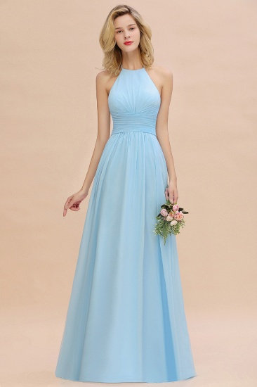 Glamorous Halter Backless Long Affordable Bridesmaid Dresses with Ruffle_4