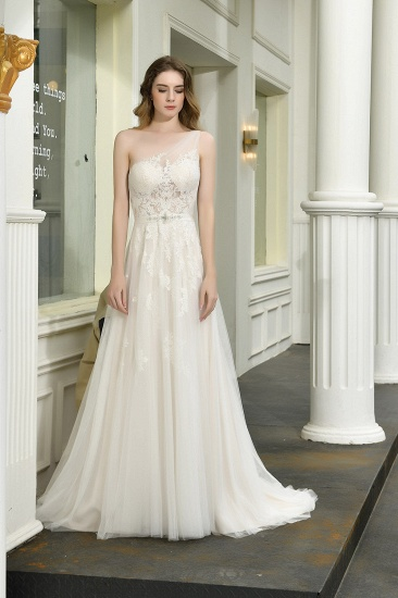 Sexy A-Line One Shoulder Tulle Lace Ivory Wedding Dress Online_10