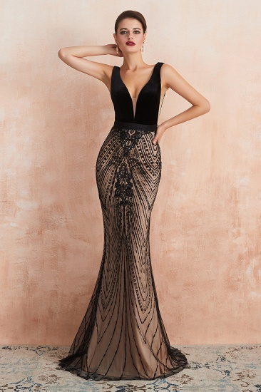 BMbridal Sexy Black Lace Mermaid Prom Dress Long Sleeveless Evening Party Gowns Online_6