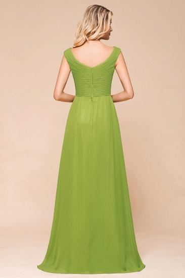 Affordable V-Neck Sleeveless Green Chiffon Bridesmaid Dress Online_3