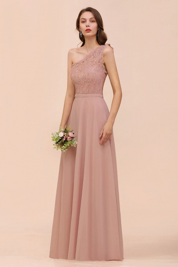 New Arrival Dusty Rose One Shoulder Lace Long Bridesmaid Dress_55
