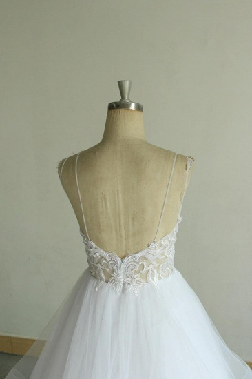 BMbridal Sexy Spaghetti Straps Tulle White Wedding Dress Sleeveless A-line Bridal Gowns On Sale_7
