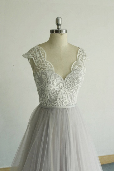 BMbridal Unique V-neck Appliques Tulle Wedding Dress Ruffles Shortsleeves A-line Bridal Gowns On Sale_4