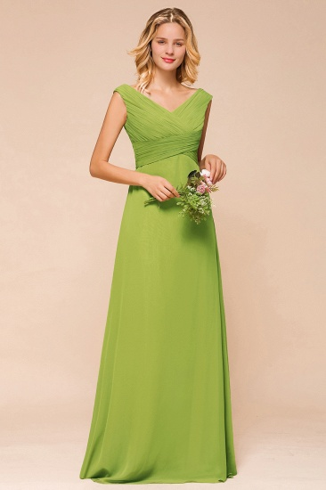 Affordable V-Neck Sleeveless Green Chiffon Bridesmaid Dress Online_5