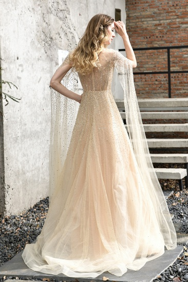 Luxurious Tulle Crystals Long Prom Dress Online With Ruffle Sleeves_4