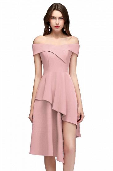 BMbridal A-line Asymmetrical Short Off-the-shoulder Burgundy Prom Dress_1