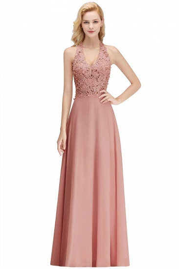 BMbridal A-line Halter Chiffon Lace Bridesmaid Dress with Beadings_2