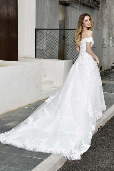 BMbridal Gorgeous Lace Off-the-Shoulder Long Wedding Dress with Beadings_10