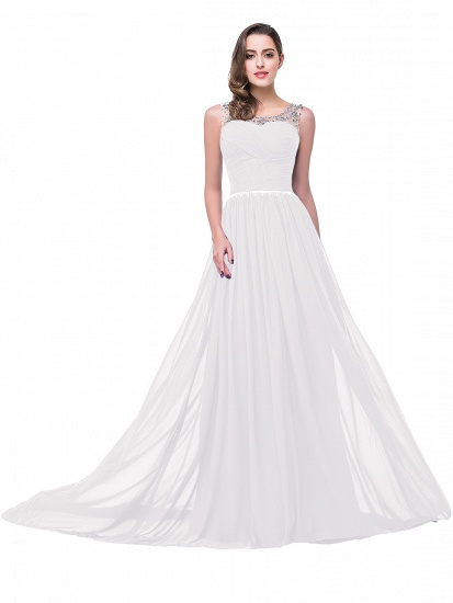 BMbridal A-line Court Train Chiffon Party Dress With Beading_1